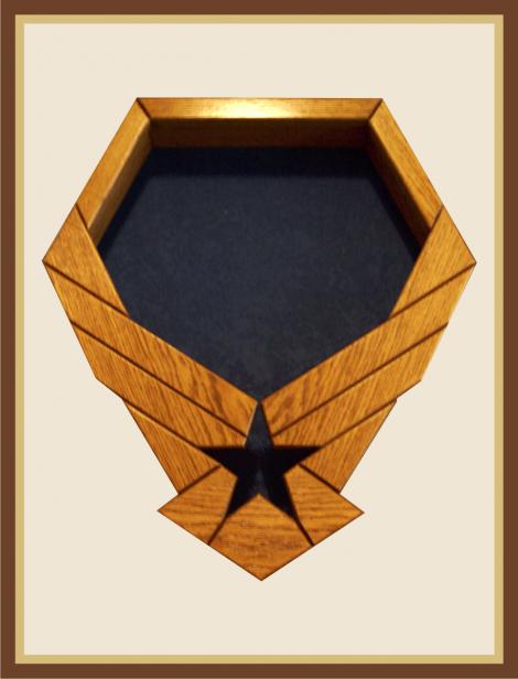 Oak Air Force Emblem ShadowBox - Blue Background