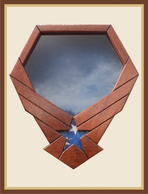 Mahogany Air Force Emblem Shadowbox-Blue Background