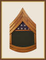 Oak Army Sergeant First Class Shadowbox-Green Background