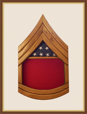 Oak Marine Gunnery Sergeant Shadowbox-Red Background