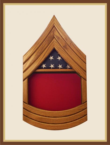 Marine Master Sergeant Shadowbox-Oak
