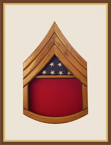 Oak Marine Staff Sergeant Shadowbox-Red Background
