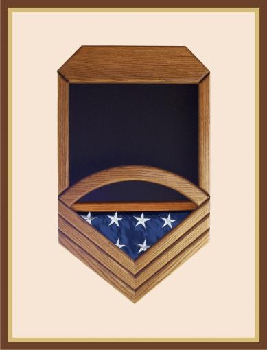 Oak Navy Chief Petty Officer Shadowbox - Black Background