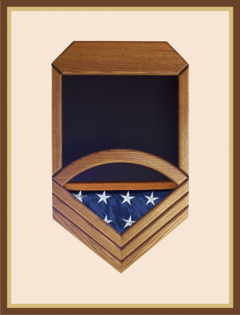 Oak Navy Chief Petty Officer Shadowbox - Black Background