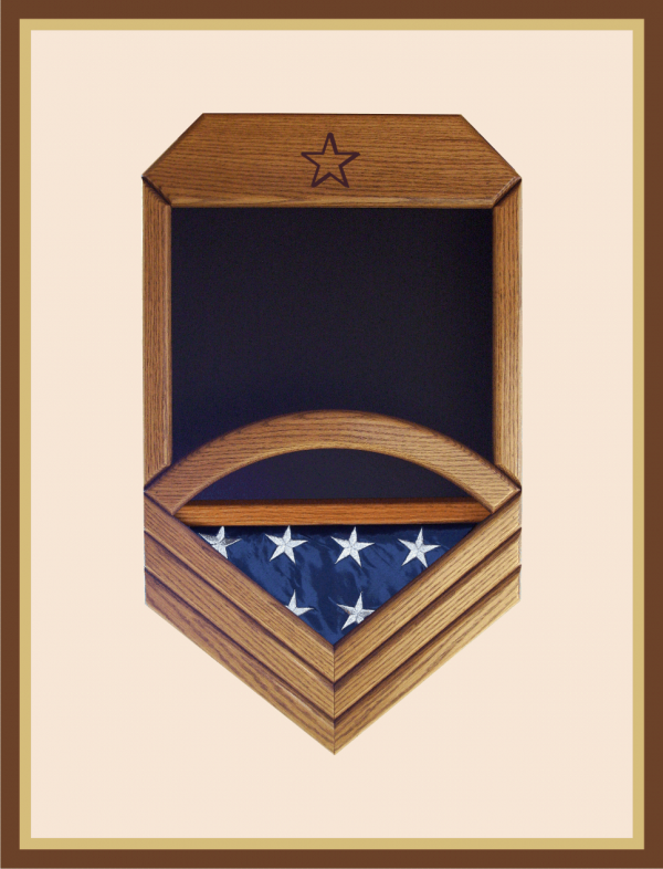 Oak Navy Senior Chief Petty Officer Shadowbox - Black Background