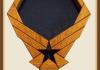 Oak Air Force Emblem Shadowbox with Pedestal-Blue Background