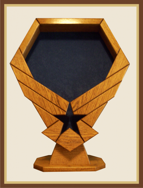 Oak Air Force Emblem Shadowbox with Pedestal-Blue Background