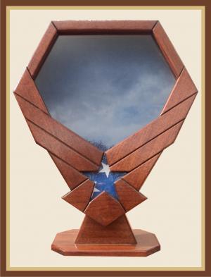 Mahogany Air Force Emblem Shadowbox with Pedestal-Blue Background
