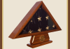 Oak 3x5 Flag Case with Pedestal and Coin