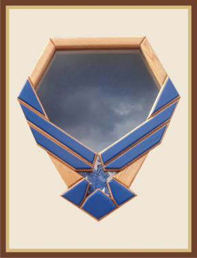 Oak Air Force Blue Emblem Shadowbox-Blue Background