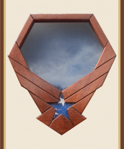 Mahogany Air Force Emblem Shadowbox-Blue Background