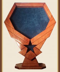 Cherry Air Force Emblem Shadowbox with Pedestal-Blue Background