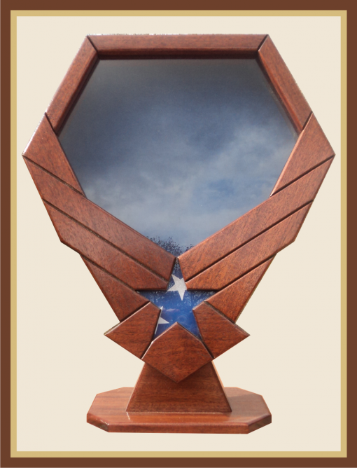 Mahogany Air Force Emblem Shadowbox with Pedestal-Blue Background